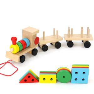 pociąg drewniany dla dzieci sorter