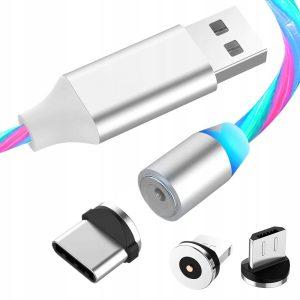 KABEL MAGNETYCZNY DO IPHONE MICRO USB TYP-C 3w1
