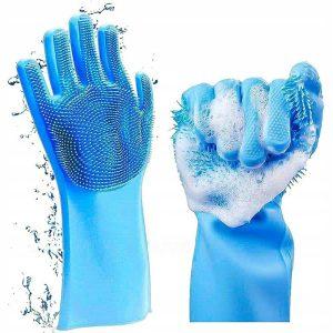 silikonowe rękawice do mycia naczyń