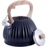 czajnik stalowy na gaz 3l z gwizdkiem plisowany
